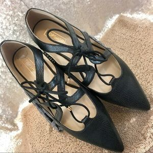 Topshop Fickle Black Lace Up Flats 9.5 New